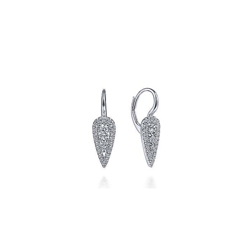 Gabriel 14K White Gold Diamond Hoop Earrings EG13645W45JJ