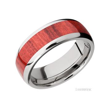Titanium & Red Heart Wood Men's Wedding Band