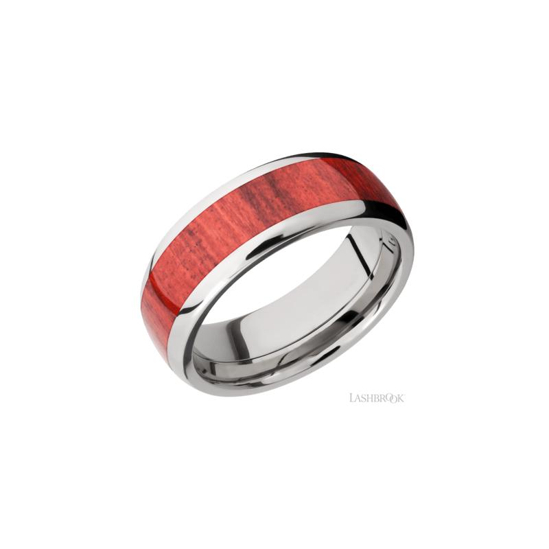Lashbrook Titanium & Red Heart Wood Men's Wedding Band