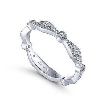 14K White Gold Angular Shape Station Stackable Diamond Ring