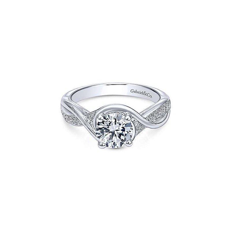 Gabriel 14K White Gold Bailey Round Diamond Engagement Ring