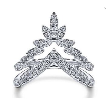White Gold and Diamond Marquise Double V Ring.