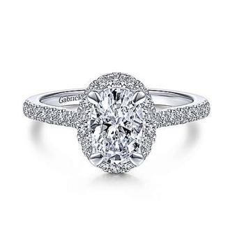 Idina 14K White Gold Oval Diamond Engagement Ring