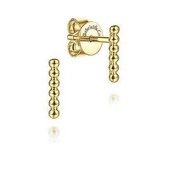 14K Y/G Beaded Bar Stud Earrings