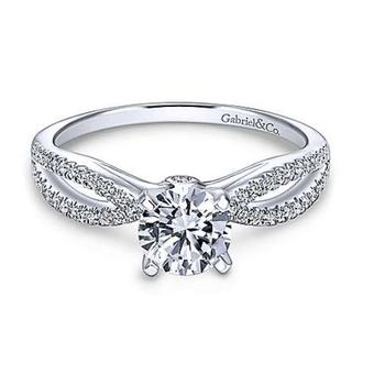 Elyse 14K White Gold Round Diamond Engagement Ring