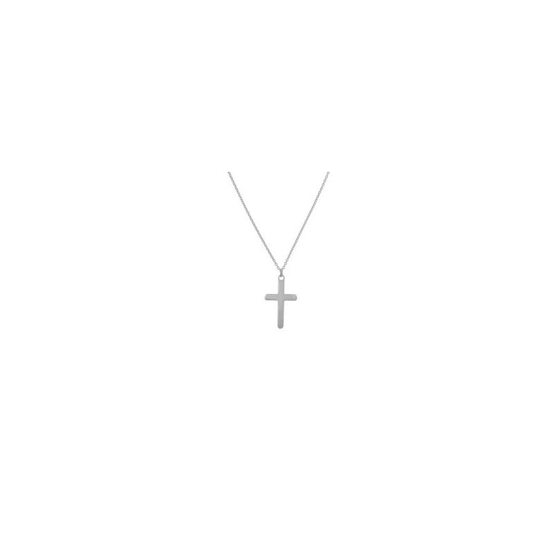 """18"""" 14K White Gold Curved Cross Necklace"""
