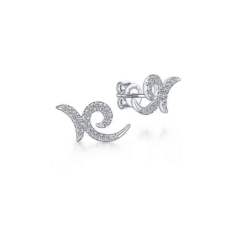 Gabriel 14K White Gold Diamond Stud Earrings EG13482W45JJ