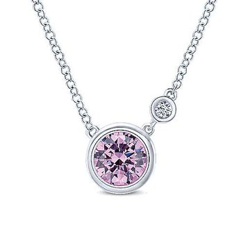 Silver Fashion Diamond and Created Pink Zircon Necklace