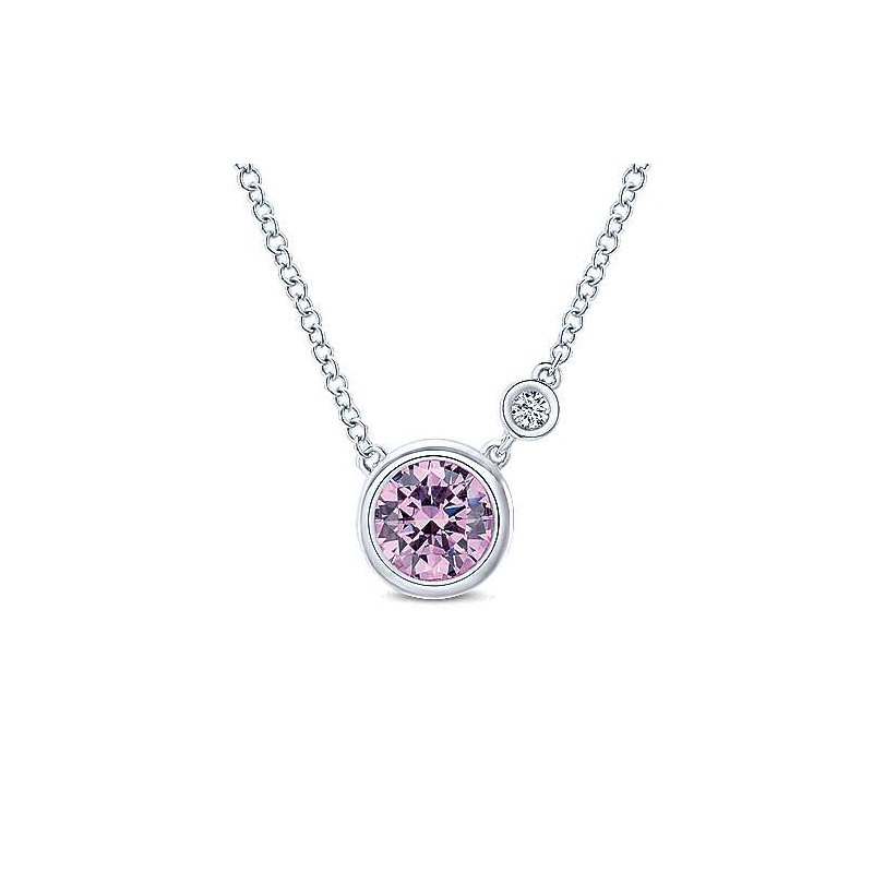 Gabriel Silver Fashion Diamond and Created Pink Zircon Necklace