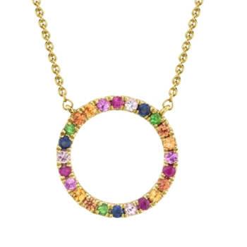 14k Yellow Gold Multi-Color Stone Circle Necklace