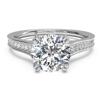 14K White Gold Diamond Engagement Ring 1R2493