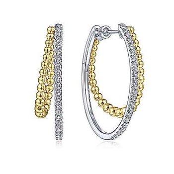 White and Yellow Gold Gabriel & Co. Bujukan Hoop Earrings