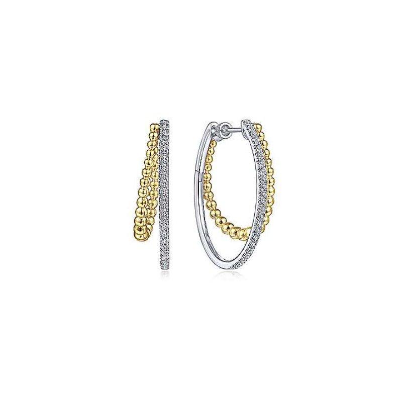 Gabriel White and Yellow Gold Gabriel & Co. Bujukan Hoop Earrings