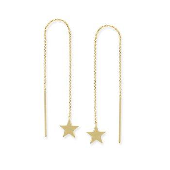 14K Yellow Gold Flat Star Threader Earring