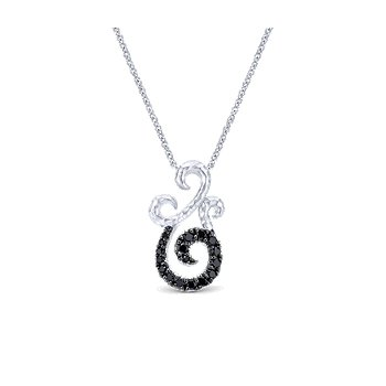 SS and Black spinel swirl Necklace