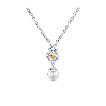 925 Sterling Silver & 18K Yellow Gold Cultured Pearl Drop Pendant