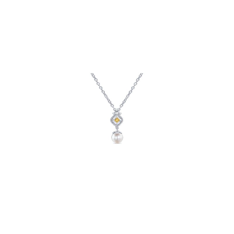 Gabriel 925 Sterling Silver & 18K Yellow Gold Cultured Pearl Drop Pendant