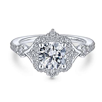 Veronique 14K White Gold Vintage Inspired Halo Diamond Engagement Ring