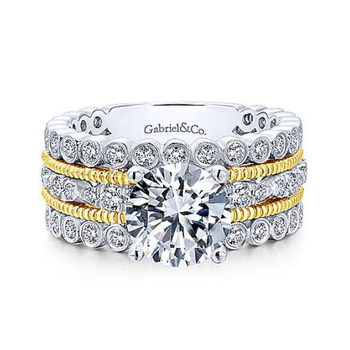 Lilith 14K Yellow Gold Round Diamond Engagement Ring