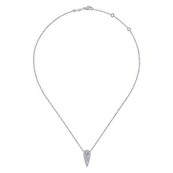 14K White Gold Inverted Teardrop Diamond Pendant Necklace