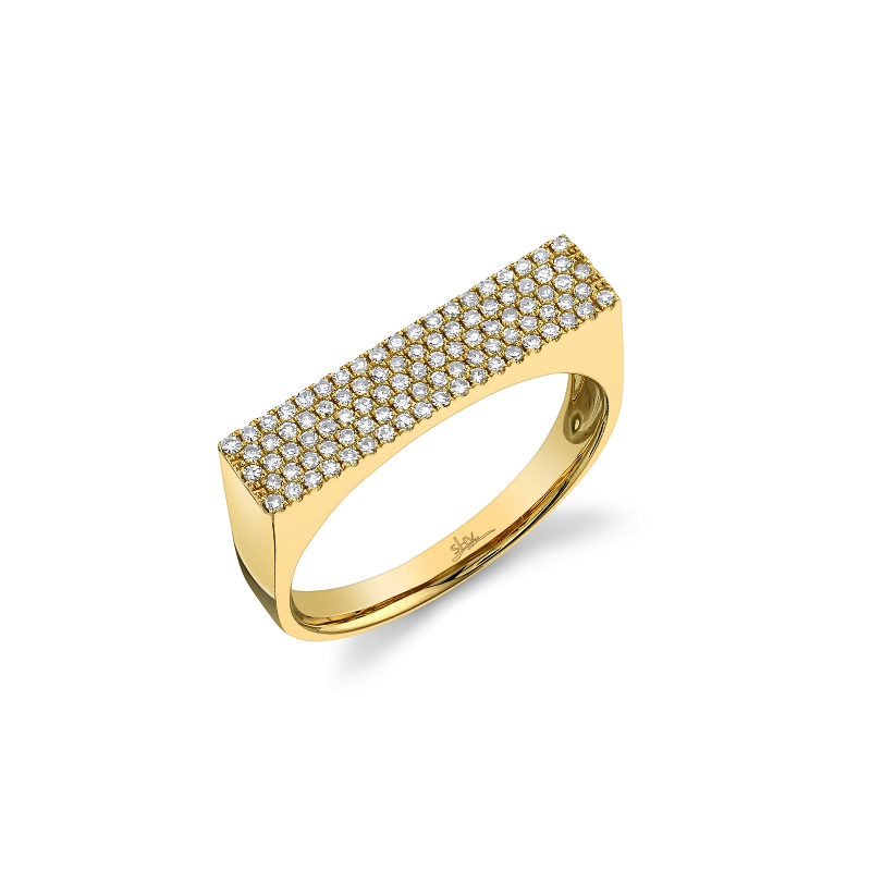 Shy Creation 14k Yellow Gold Diamond Pave Lady's Ring