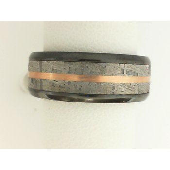 14K Rose Gold, Zirconium, & Meteorite Men's Wedding Band