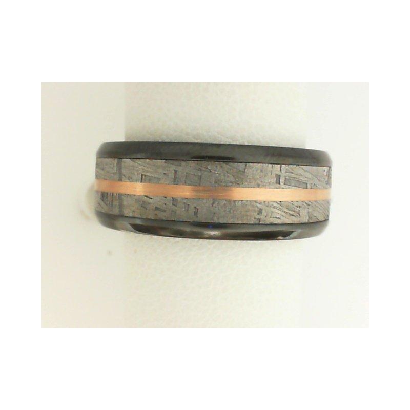 Lashbrook 14K Rose Gold, Zirconium, & Meteorite Men's Wedding Band