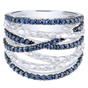 925 Sterling Silver and Blue Sapphire Ribbon Fashion Ring LR51020SVJSB