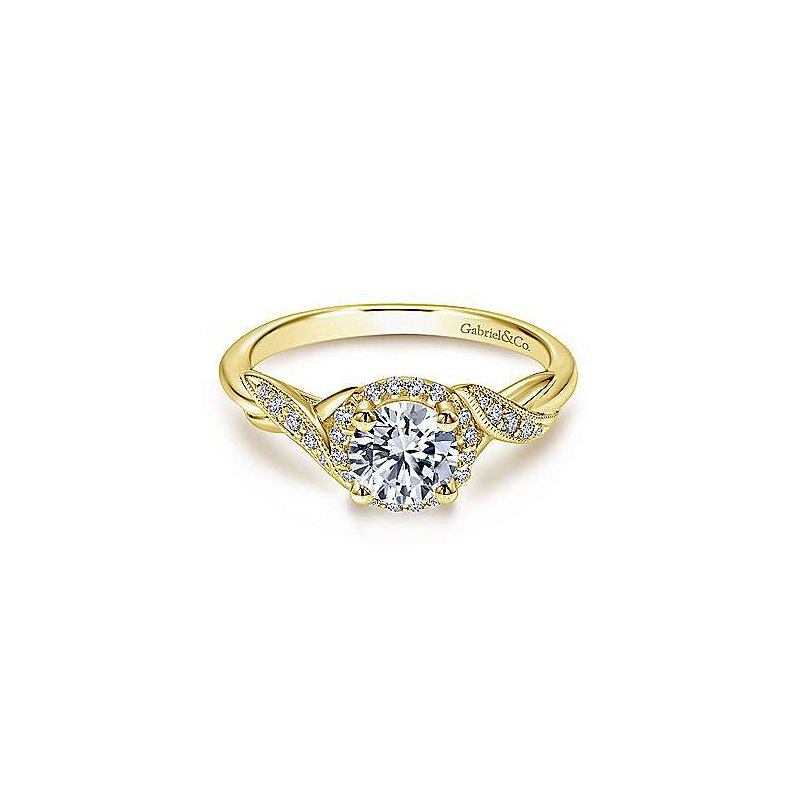 Gabriel Yellow Gold and Diamond Shae Engagement Ring