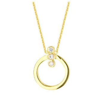 "18"" 14K Yellow Gold Diamond Circle Necklace"