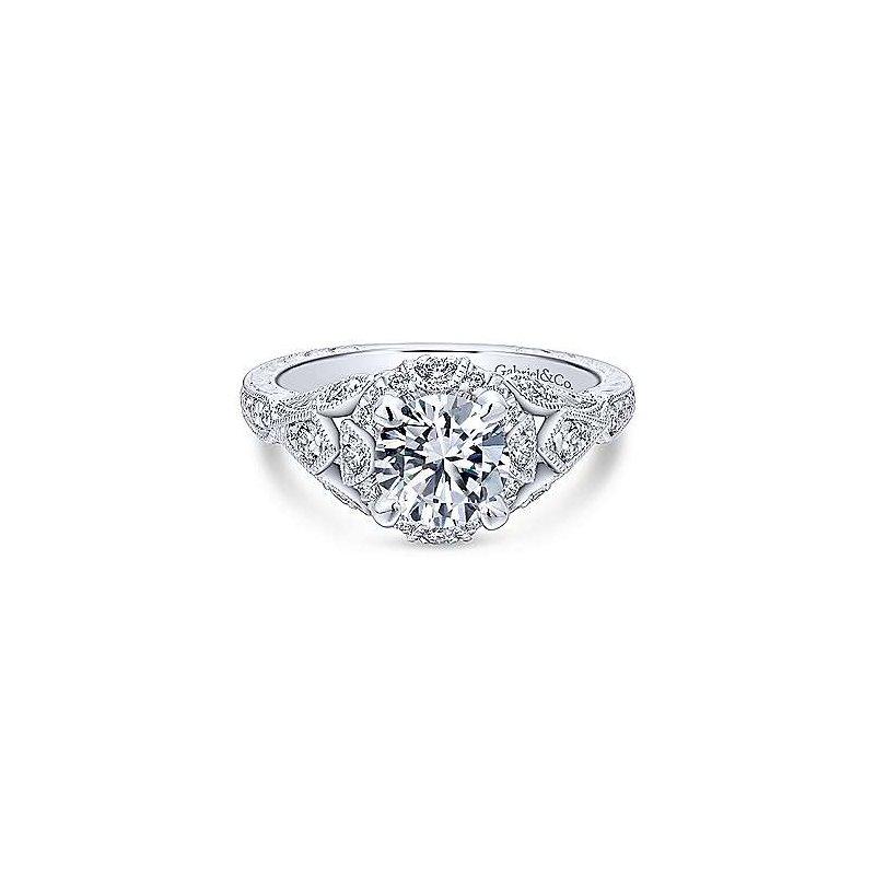 Gabriel 14K White Gold Annadale Round Diamond Engagement Ring