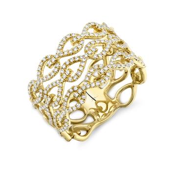 14K Yellow Gold Ladies Diamond Teardrop Link Fashion Ring