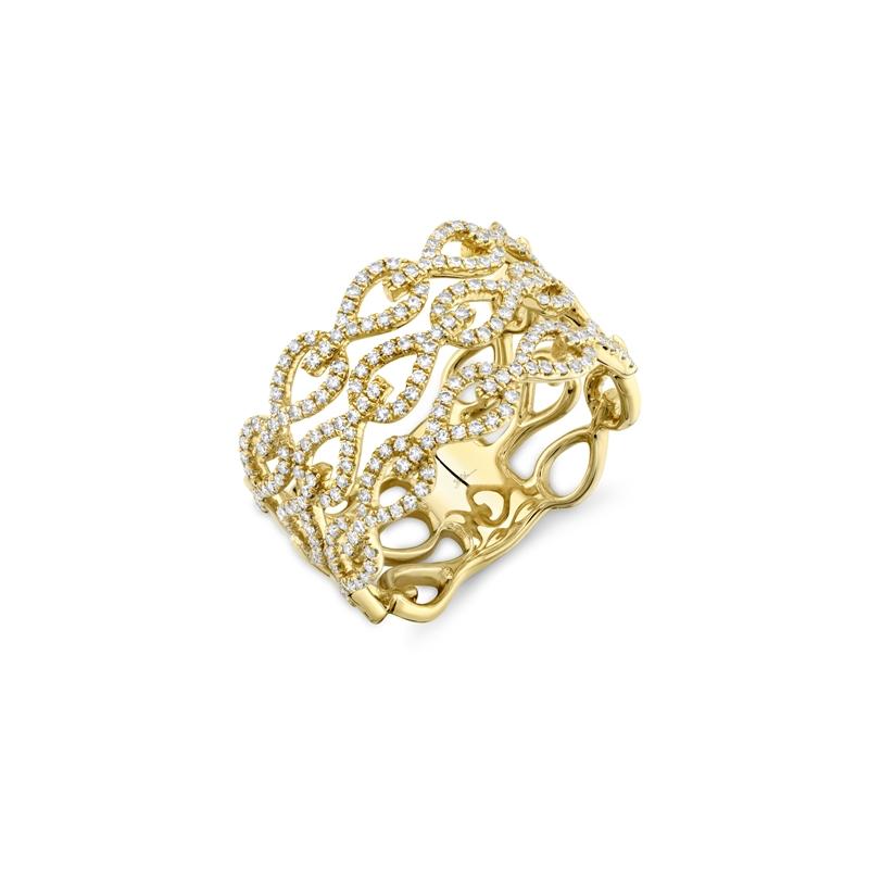 Shy 14K Yellow Gold Ladies Diamond Teardrop Link Fashion Ring