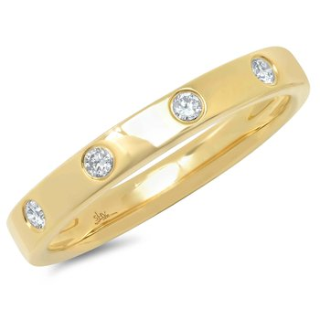 14K Yellow Gold Diamond Flush Set Band
