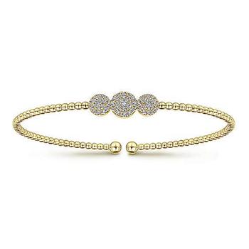 14K Yellow Gold Bujukan Pve Diamond Bead Cuff Bracelet