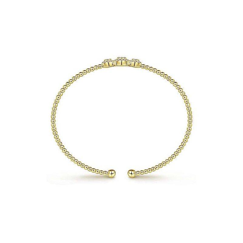 Gabriel 14K Yellow Gold Bujukan Pve Diamond Bead Cuff Bracelet