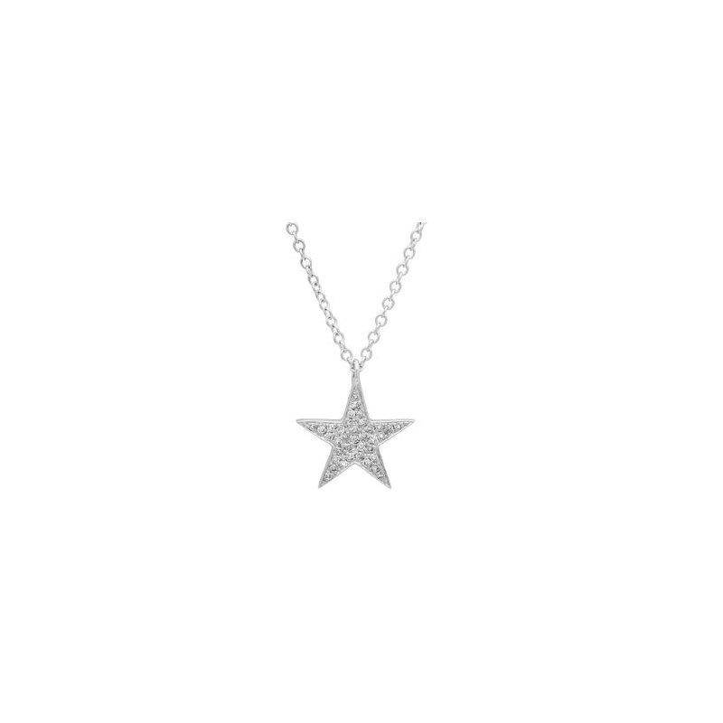 Shy 14K White Gold Diamond Star Necklace