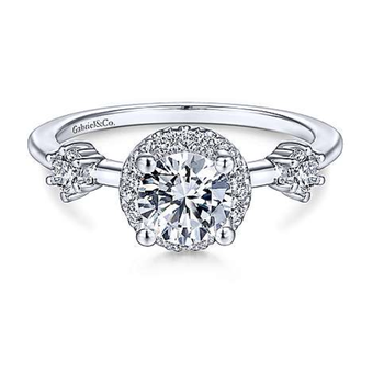 Melora 14K White Gold Round Diamond Engagement Ring