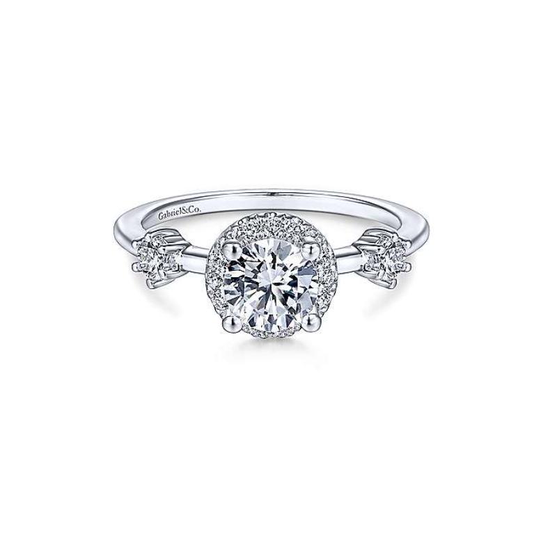Gabriel Melora 14K White Gold Round Diamond Engagement Ring