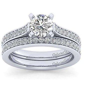 Krista 14K White Gold Round Diamond Engagement Ring