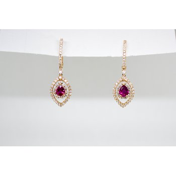 Ruby and Diamond Rose Gold Earrings