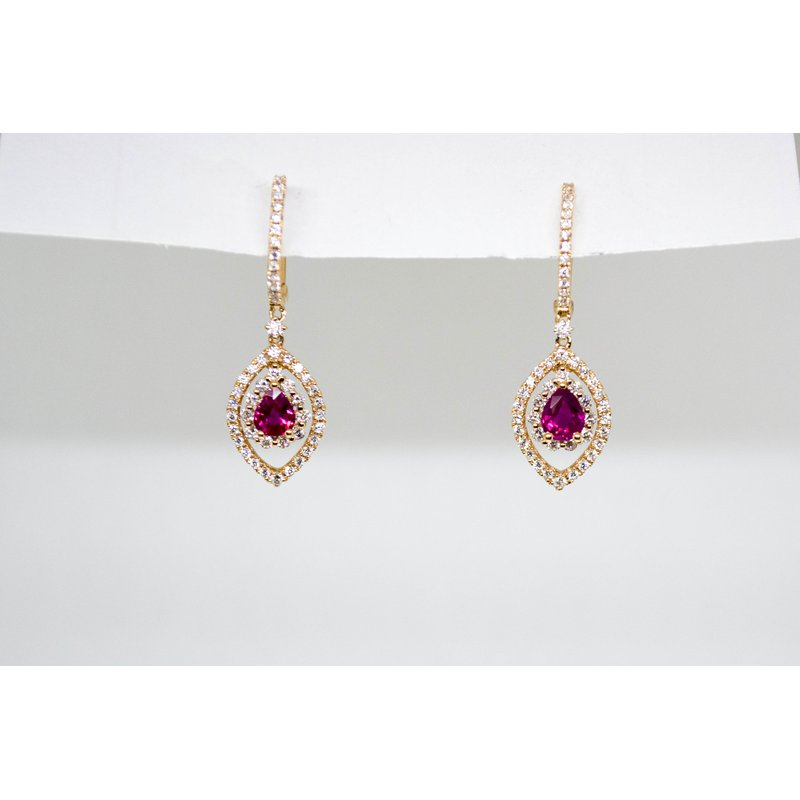 Collage Collection Ruby and Diamond Rose Gold Earrings