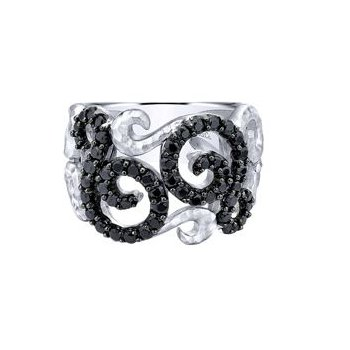 Sterling Silver Black Spinel Fashion Ring LR50562SVJBS