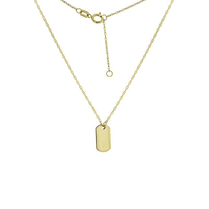"""18"""" 14K Yellow Gold Mini Dog Tag Adjustable Necklace"""