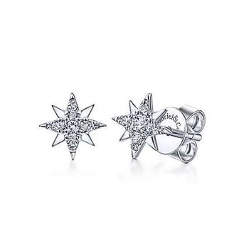 White Gold and Diamond Star Stud Earring