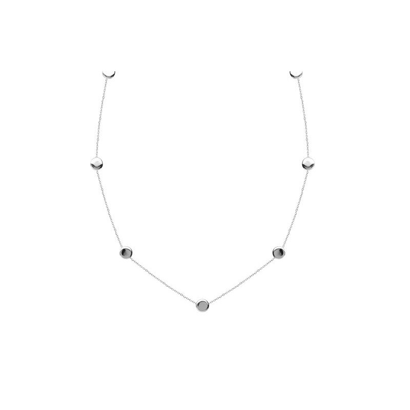 Midas Sterling Silver Station Round Flat Bead Necklace