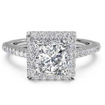 14K White Gold Diamond Engagement Ring 1PC3702