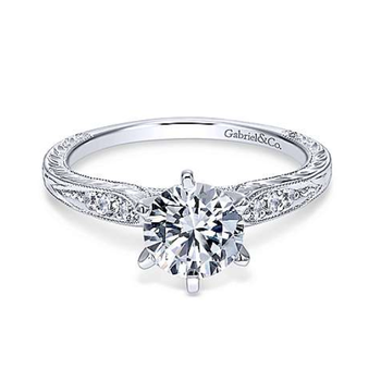 Kate 14K White Gold Round Diamond Engagement Ring