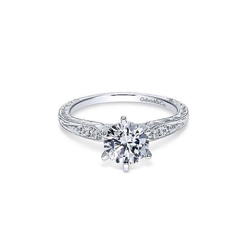 Gabriel Kate 14K White Gold Round Diamond Engagement Ring
