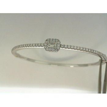 18K White Gold Forevermark Diamond Bangle Bracelet